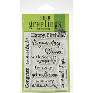 "Hero Arts Greetings Clear Stamps 3""X4"""