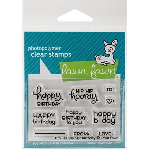 "Lawn Fawn Tiny Tags Birthday Clear Stamps 2""x3"""